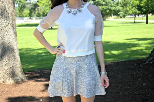 HM Gray Sweatshirt Skirt with Nasty Gal White Top