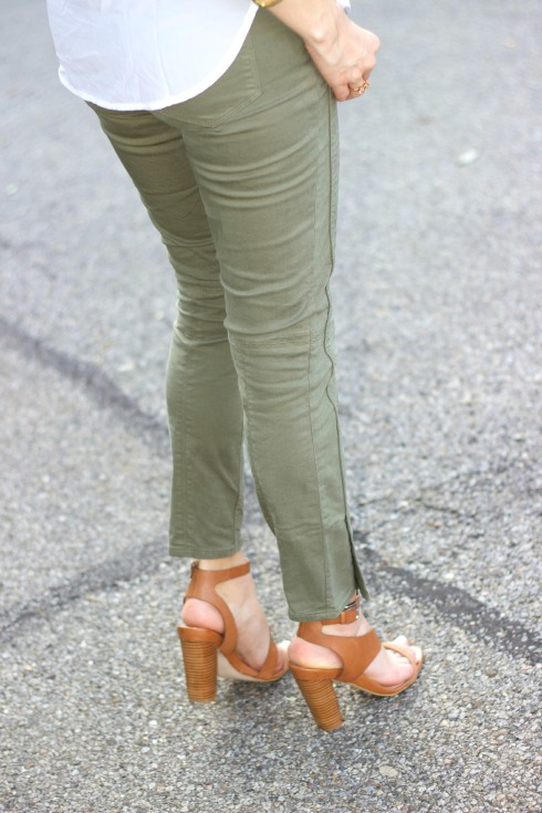 j.crew green utility pants with french connection calypso leather city shoes