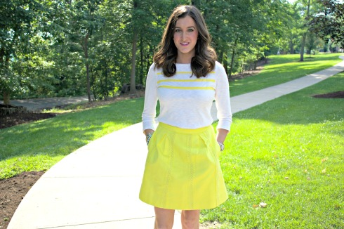 JCrew Yellow Skirt with Striped Yellow Top