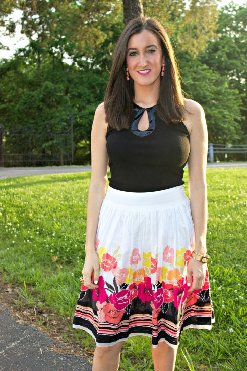 Colorful Floral Skirt with Black Top