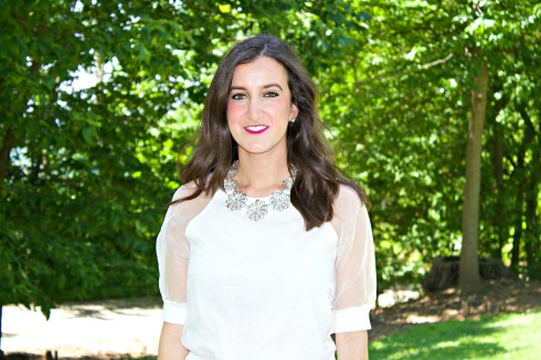 Nasty Gal White Top with Kate Spade Necklace