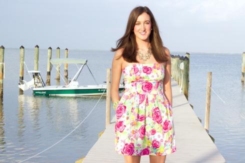 Pink and Green Strapless Summer Dress