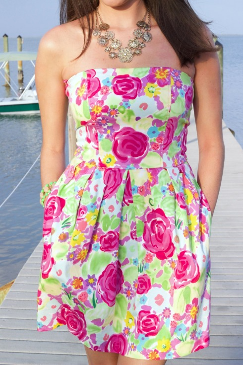 Tulle Strapless Colorful Floral Print Summer Dress
