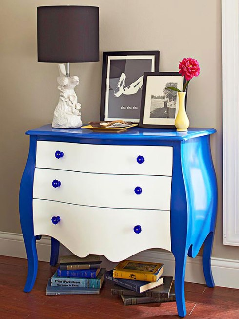 White and Blue Painted Dresser