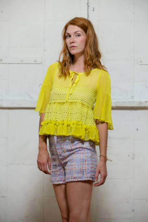 To Be Adored Yellow Ruffled Top