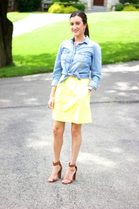 Bright Skirt with Chambray Shirt