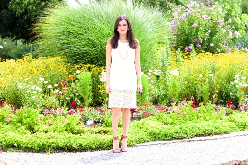 Crocheted Sleeveless White Summer Dress
