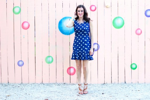 French Connection Heels with Polkadot Dress