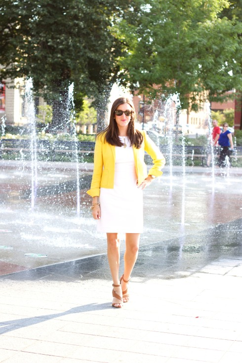 Gianni Bini White Dress with Yellow Blazer