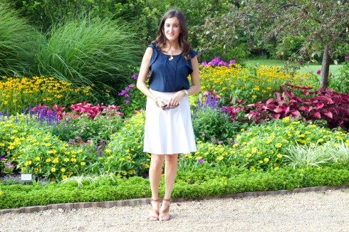 Navy and White Dressy Summer Outfit
