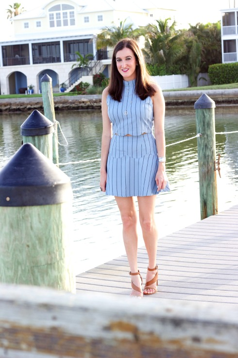Striped Matching Separates with French Connection Sandals