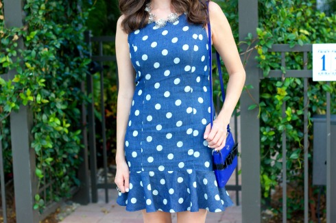 Urban Outfitters Denim Polkadot Ruffled Dress