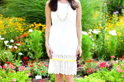 White Crochet Lace Summer Dress with Yellow Pleated Trim