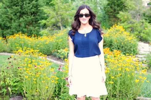 White Knee Length Skirt with Silky Navy Top