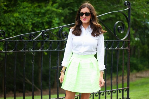 White Ralph Lauren Blouse with Green Pleated Skirt