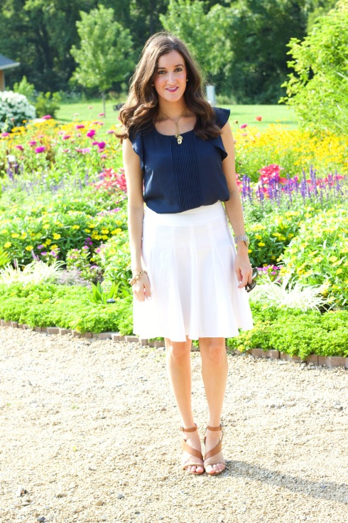 White Skirt with Silky Navy Blouse