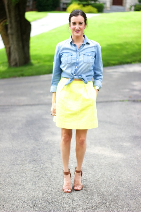 Yellow J.Crew Skirt with JCrew Chambray