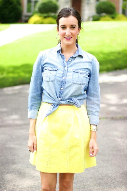 Yellow Skirt and J.Crew Chambray Shirt