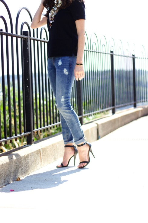 Ankle Strap Heels with Gap Ripped Jeans
