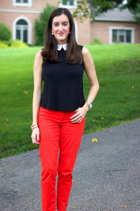 ASOS sleeveless top with Calvin Klein Red Pants