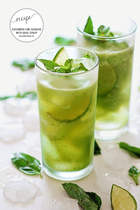 End of Summer Drinks - Basil Cucumber Daiquiri Cocktail