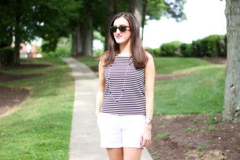 Black and White Striped Madewell Tank Top
