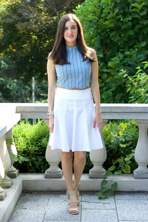 Feminine Summer Outfit with Scalloped Crop Top
