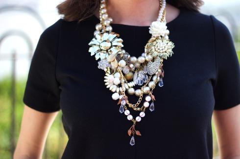 Designer Jewelry Gold Flower Pearl Statement Necklace