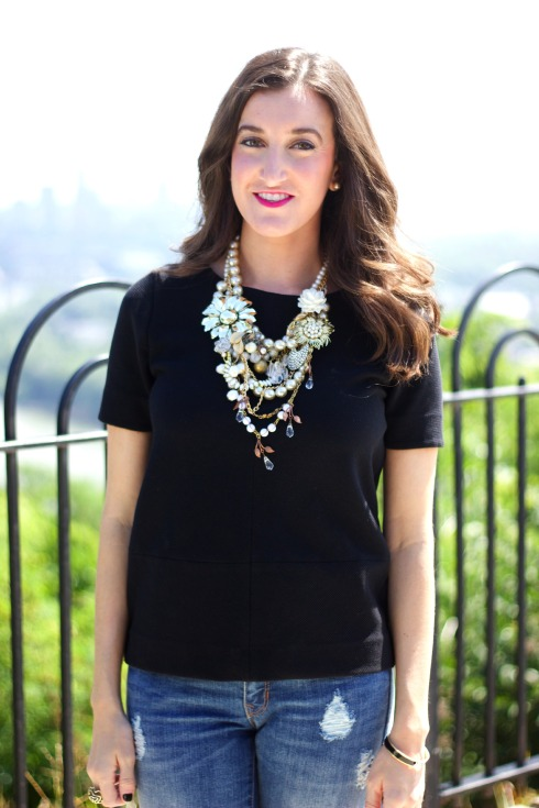 Handmade Gold and Pearl Designer Statement Necklace