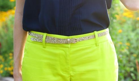 Citron Green Pants with J.Crew Gold Glitter Belt