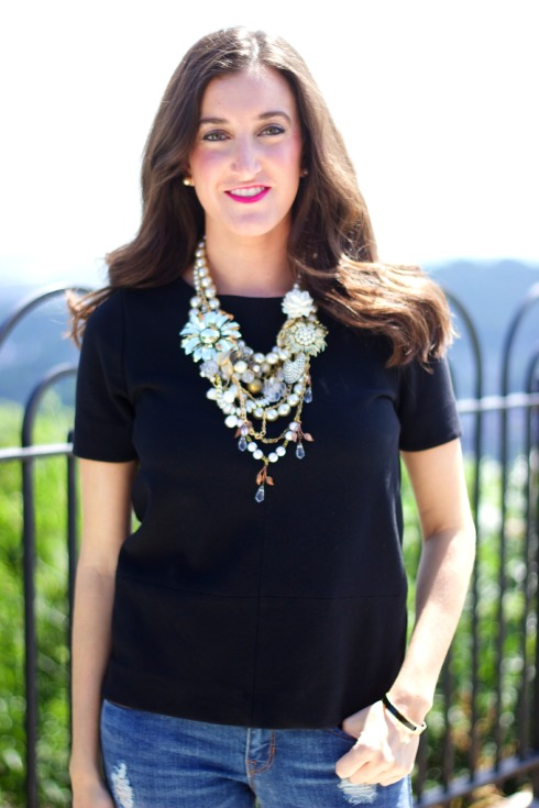 Madewell Bistro Top with Statement Necklace