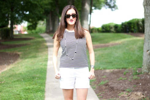 Madewell Striped Shell with J.Crew White Shorts