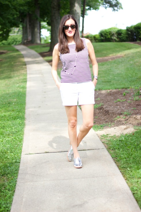 Madewell Striped Tank Top with White J.Crew Shorts