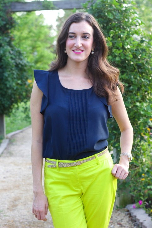 Navy Maison Jules Flutter Top with Green Pants