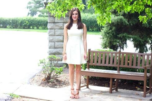 Rachel Roy Perforated Leather Cream Dress