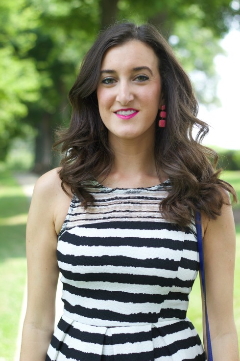Sugarlips Black and White Striped Dress with Kate Spade Pink Earrings