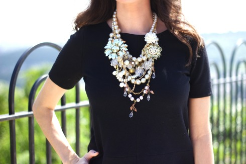 Tara Lea Smith Pearl Gold Statement Necklace
