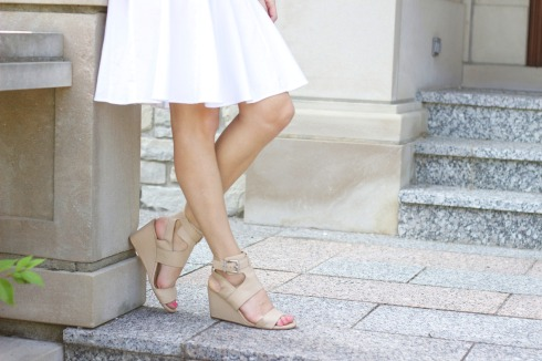 White Knee Length Skirt with BCBGeneration Nude Wedges