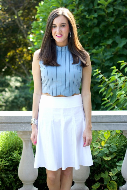White Pleated Skirt with Blue JOA Crop Top