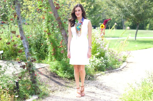 White Summer Dress with Bright Statement Necklace