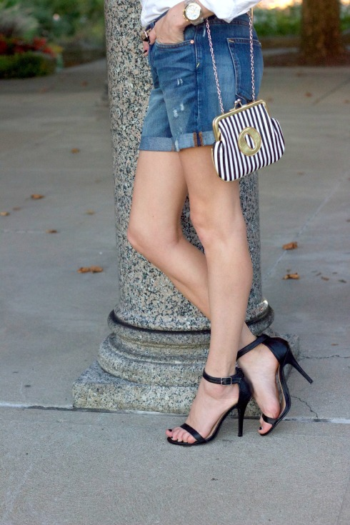 Ankle Strap Heels with Cuffed Denim Shorts