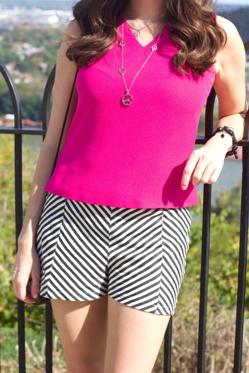 Chevron Shorts with Pink Top
