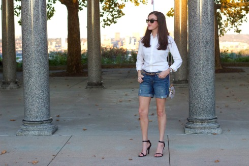Chic Denim Outfit with Black Heels