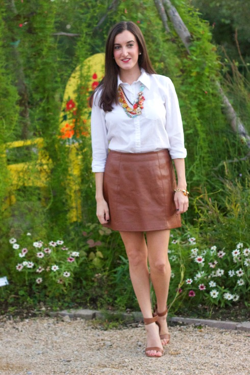 Fall Outfit with Leather Skirt