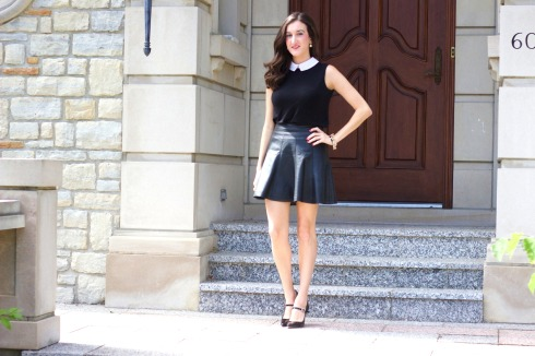 Feminine Black Outfit with Leather Skirt