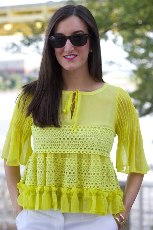 Feminine Yellow Ruffle Top