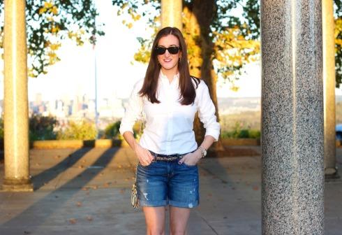Gap Denim Shorts Classic White Shirt