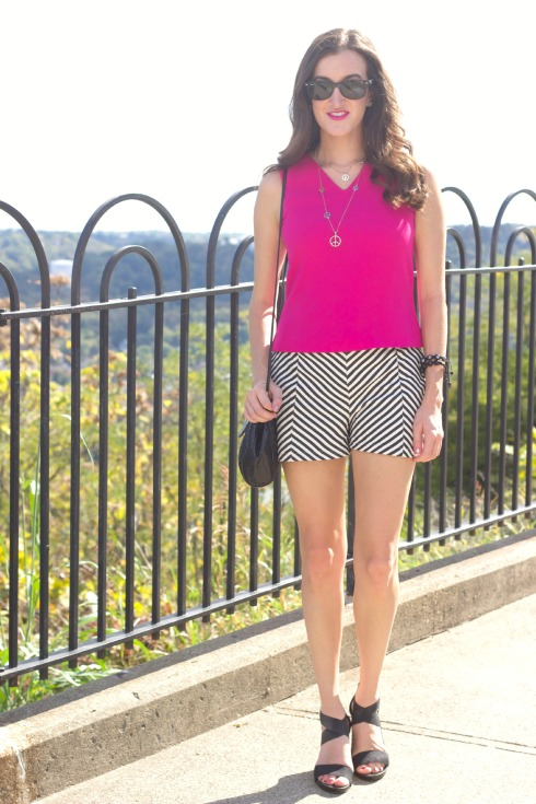 Hot Pink Dressy Top Chevron Shorts