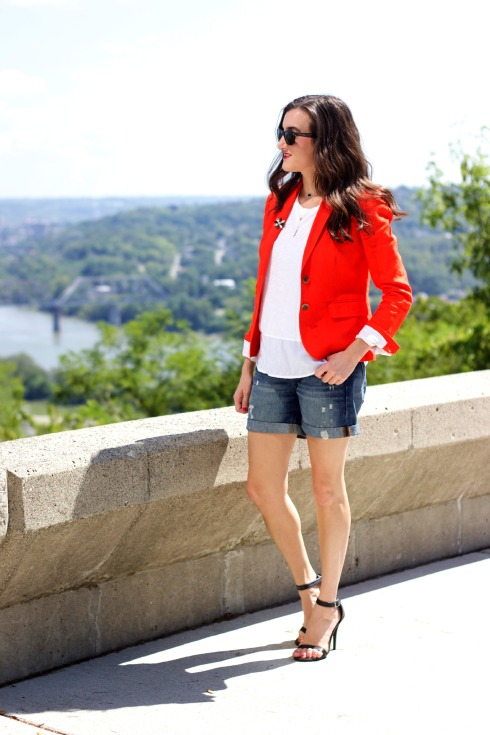 J.Crew Schoolboy Linen Blazer with Denim Shorts