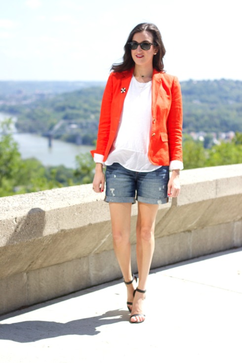 J.Crew Blazer and Denim Shorts Outfit